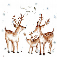 Handmade Deer Christmas Card, Deer Family, Love to you all, Festive, Snow scene