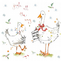 Handmade Singing Geese Christmas Card, personalised, holiday card, jingle bells