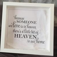 Heaven Frame, Mourning, Bereavement Gift, 3D Frame, Framed Art, Feathers