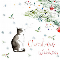 Handmade Christmas Cat, Christmas Card, personalised, holiday card, baubles