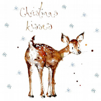 Handmade Christmas Deer, Christmas Card, personalised, holiday card, baubles
