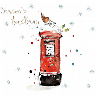 Handmade Card, Robin on a Postbox Christmas Card, holiday card, snow, Christmas,