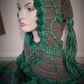 Medieval inspired Pagan Elven Hooded Scarf green vines hand made crochet item