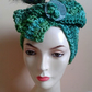 Vintage Deco Green Hand Crochet Turban Hat with Peacock Feather