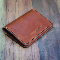 Leather Card Wallet, Folding Card Holder