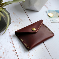 Italian Leather Button Wallet, Minimalist Leather Wallet