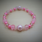 Beaded 7.5 inch Pink & Clear Bracelet- 'Frosting'