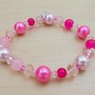 Beaded 7.5 inch Pink Bracelet- 'Candy'