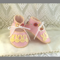 Pink with Velvet Bunnies Pure Wool Baby Booties. Lined and Gift Boxed.