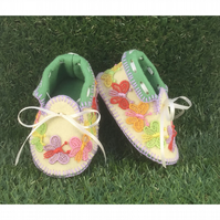 Pale Jonquil and Grass Green with multicoloured Butterflies  Baby Shoes