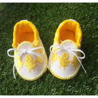 Little Chicks Baby Moccasins Golden Yellow and White Pure Wool Felt Baby Shoes