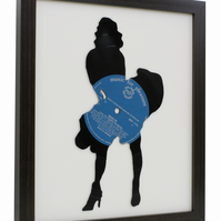 Marilyn Monroe Recycled Hand Cut Vinyl Record Silhouette - Framed