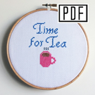 Time for Tea Cross Stitch Instant Download PDF Pattern (E-Pattern)