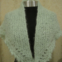Hand knitted mohair wrap in mint green