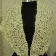 Hank knitted mohair wrap in lemon