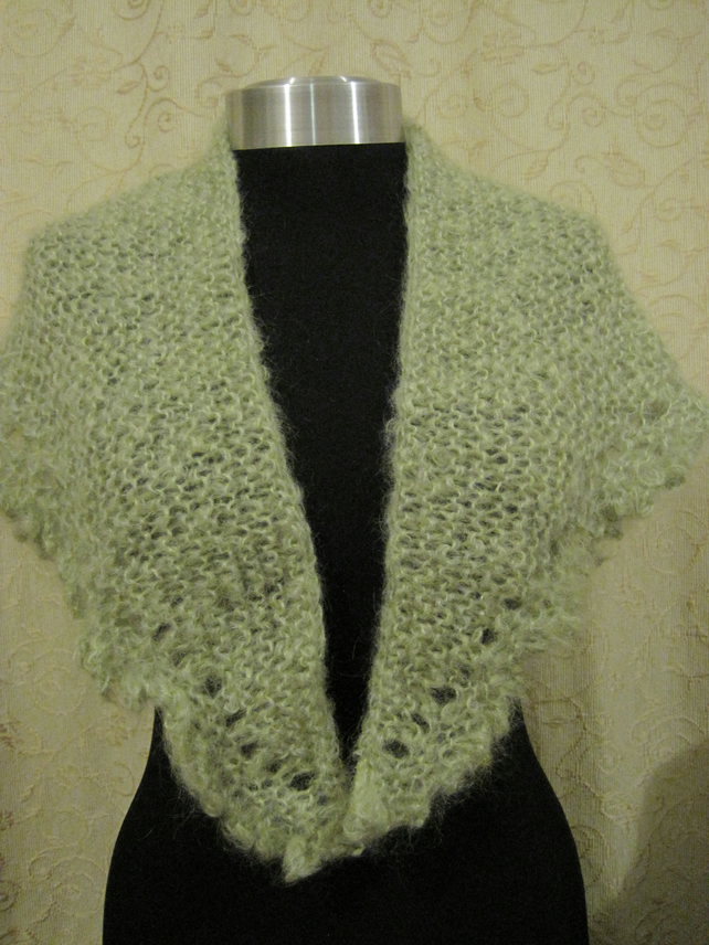 Hank knitted mohair wrap in soft green