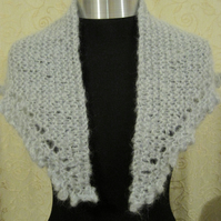 Hand knitted mohair wrap in light grey