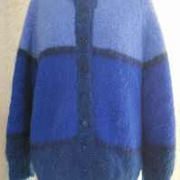 Hand knitted mohair jacket in blue