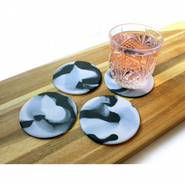 Marble Effect Clay Coasters x4 Stocking Filler