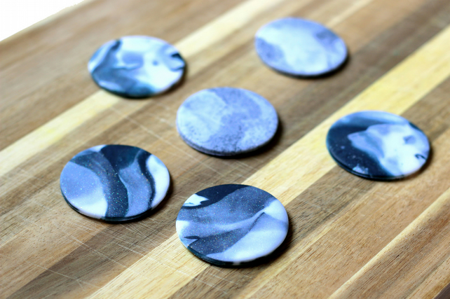Marble Effect Clay Fridge Magnets x6 Stocking Filler