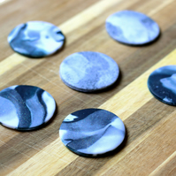 Marble Effect Clay Fridge Magnets x6
