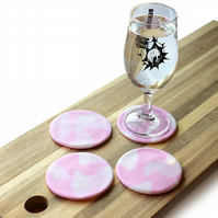 Marble Effect Pink Clay Coasters x4
