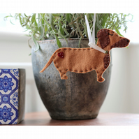 Hanging Felt Dachshund Sausage Dog Decoration - Christmas
