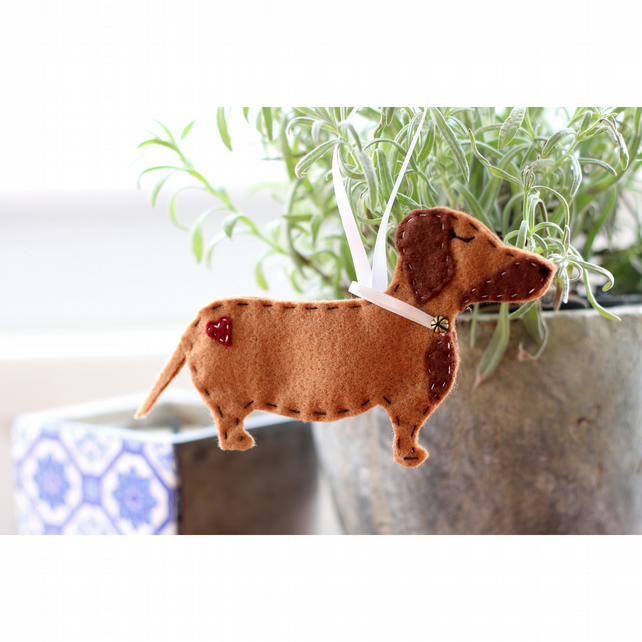 Hanging Felt Dachshund Sausage Dog Decoration Folksy