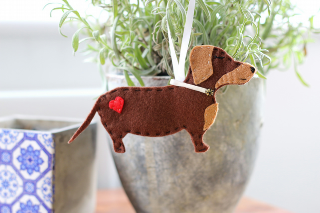 Hanging Felt Dachshund Sausage Dog Decoration - Christmas Stocking Filler