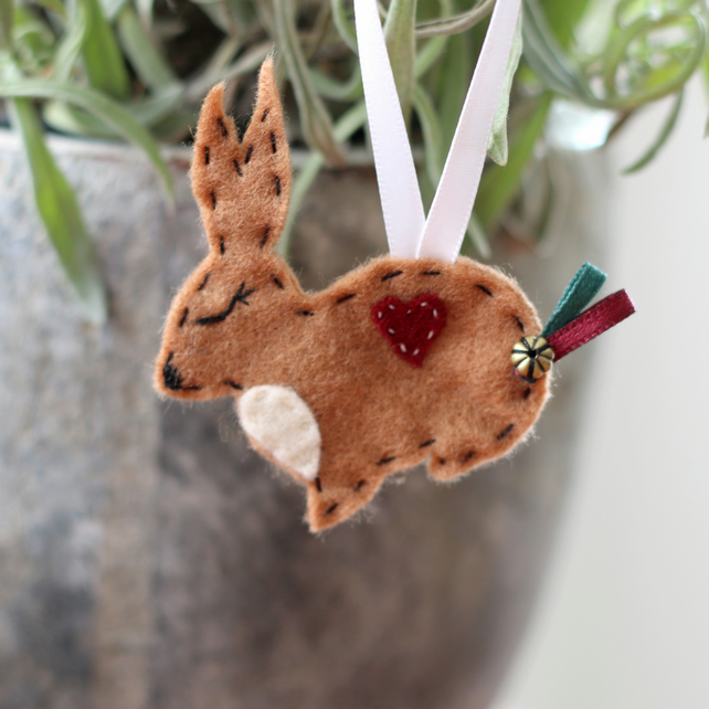 Hanging Felt Rabbit Decoration - Christmas Stocking Filler Bunny