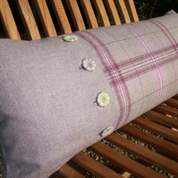 Wool cushion with decorative buttons and 100% pure down filler