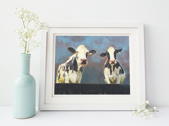 "Art Print Size A3: ""Bossy Ones"" Cows on Painted Background"