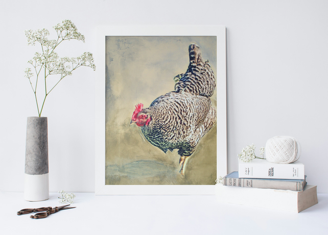 "Art Print Size A4: ""Reluctant Neighbor"" Chicken on Painted Background"