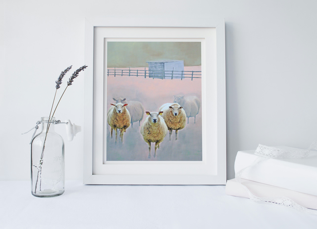 "Art Print Size A4: ""Village Committee"" Sheep on Painted Background"