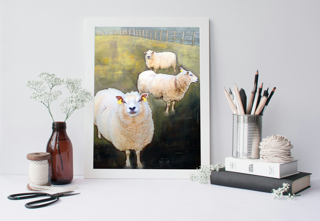 "Art Print Size A3: ""You're New Around Here"" Sheep on Painted Background"