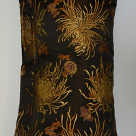 Pure chinese silk brocade cushion. Flower design in black, gold, copper, Ivory