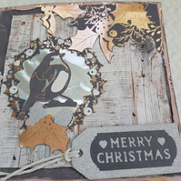 Copper Metallic Robin Wreath Christmas Card for her or him