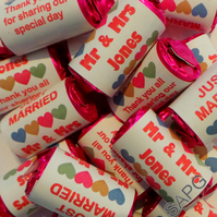 10 x Personalised Wedding Favour Love Hearts Wrappers and Sweets