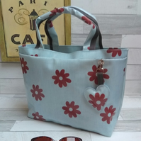 Oilcloth front pocket grab bag