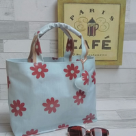 Handmade Oilcloth Light Blue Grab Bag with Large Flower Design