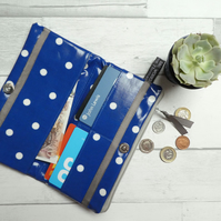 Handmade Oilcloth Navy and Spot Clutch Wallet
