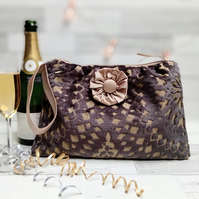 Chenille Tapestry Fabric and Silk Lined Clutch Bag