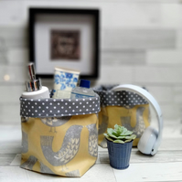 Matte Oilcloth Scandi Birds Contemporary Storage Baskets