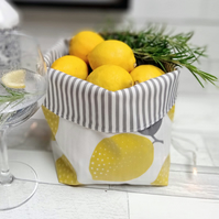 Stars and Stripes or Lemons Oilcloth Contemporary Storage Baskets