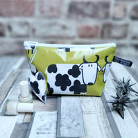Black and White Cow Print  Oilcloth Make-up Bag