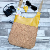 Natural Cork Fabric and Oilcloth Cross Body Bag