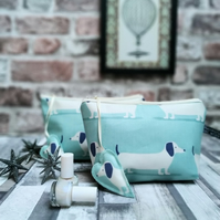 Dachshund Print Oilcloth Make-up Bag