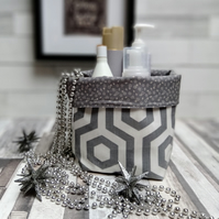 Geometric Hexagon Design Oilcloth and Cotton Contemporary Storage Baskets