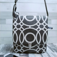 Matt Oilcloth Grey Geometric Print Large Cross Body Bag