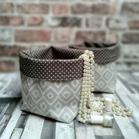 Gloss Oilcloth Grey Diamond Pattern Contemporary Storage Baskets